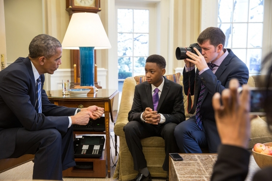 President Barack Obama meets Vidal Chastanet and Nadia Lopez and is photographed by Brandon Stanton for the