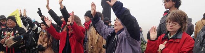 Protesters block a highway in near Cannon Ball, North Dakota. AP Photo/James MacPherson