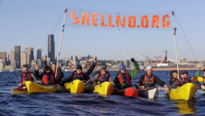 Activists in Seattle practice for demonstrations against Royal Dutch Shell's plans to drill in the Arctic, April 17, 2015. AP Photo/Elaine Thompson