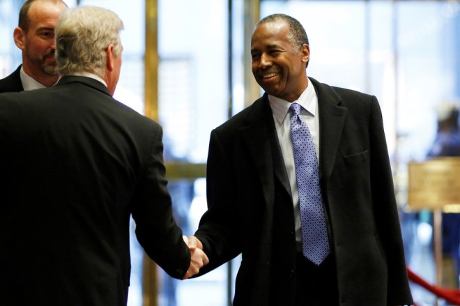 Ben Carson, President-elect Donald Drumpf's nominee to be secretary of housing and urban development, at Drumpf Tower. REUTERS/Shannon Stapleton