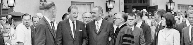 Lyndon Johnson, who was friends with evangelist Billy Graham, wasn't targeting religious groups when he pushed his eponymous amendment in 1954. AP Photo