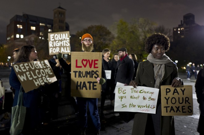 A protest in New York's Washington Square Park days after Donald Trump's election. Muhammed Muheisen/AP